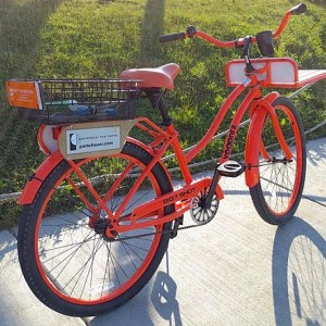 Bicycle rental service bike featuring iLasik promotional image